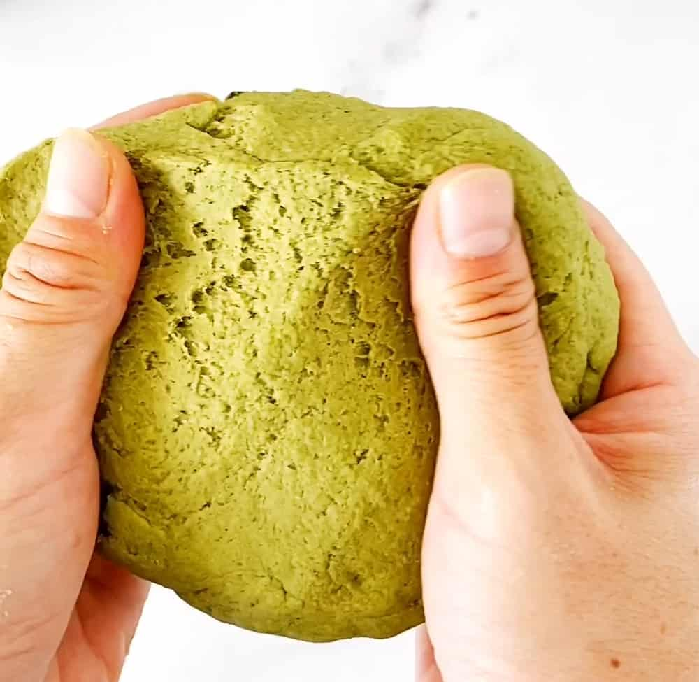 natural dye homemade playdough recipe - matcha