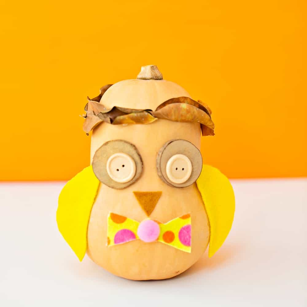Owl Pumpkin Craft. Halloween no-carve pumpkin for kids.
