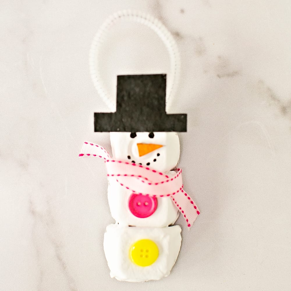 Egg Carton Christmas Ornaments - snowman