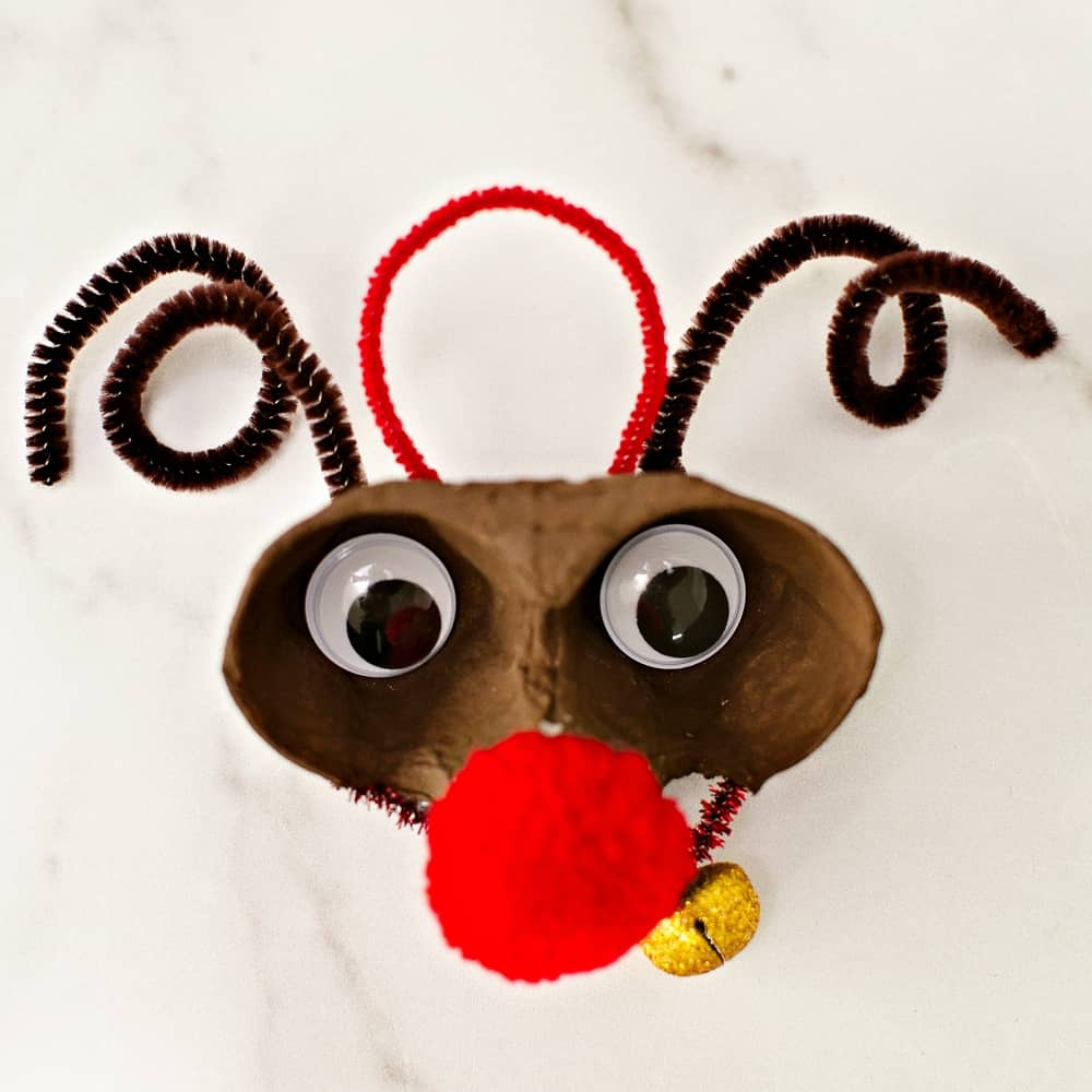 Egg Carton Christmas Ornaments - rudolph