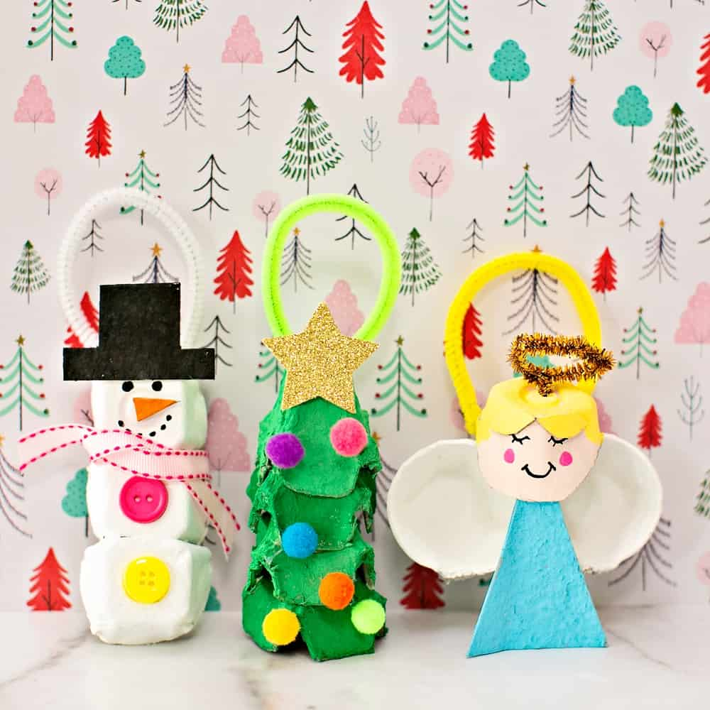 Egg Carton Christmas Ornaments - recycled holiday craft for kids