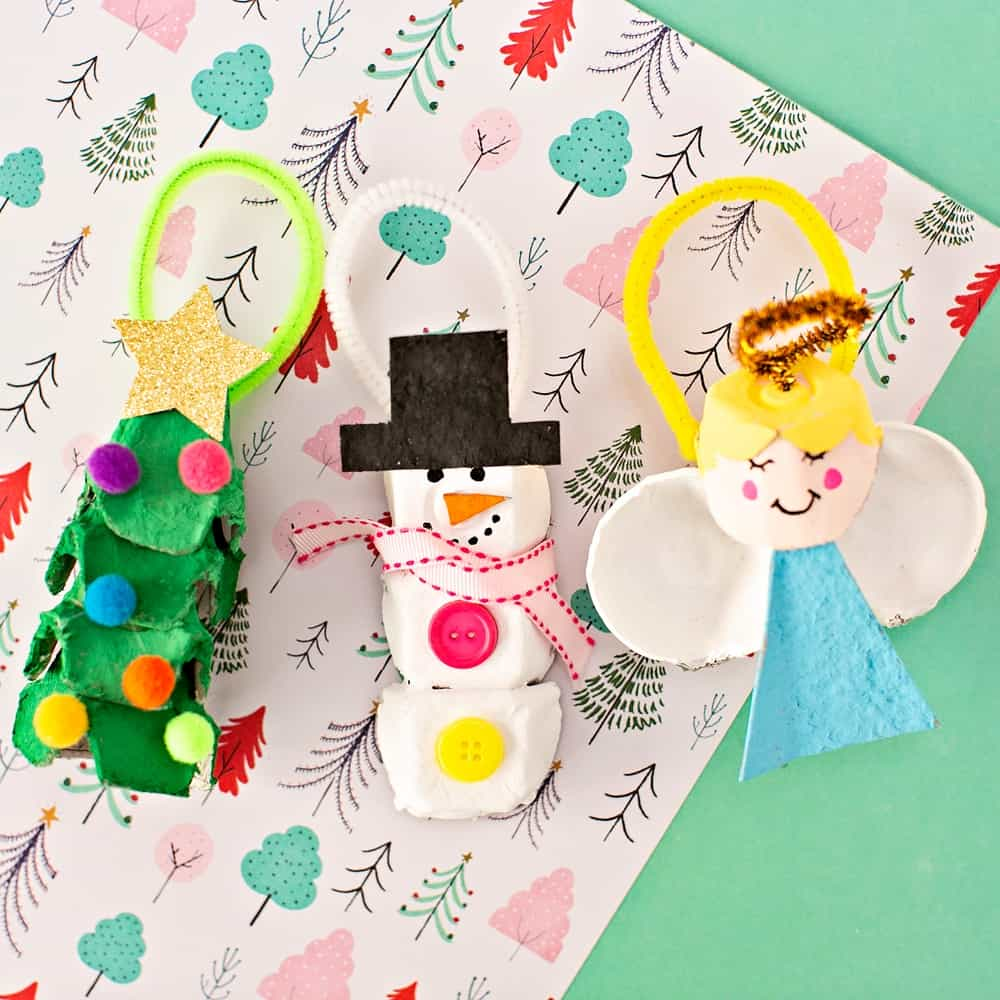 Egg Carton Christmas Ornaments