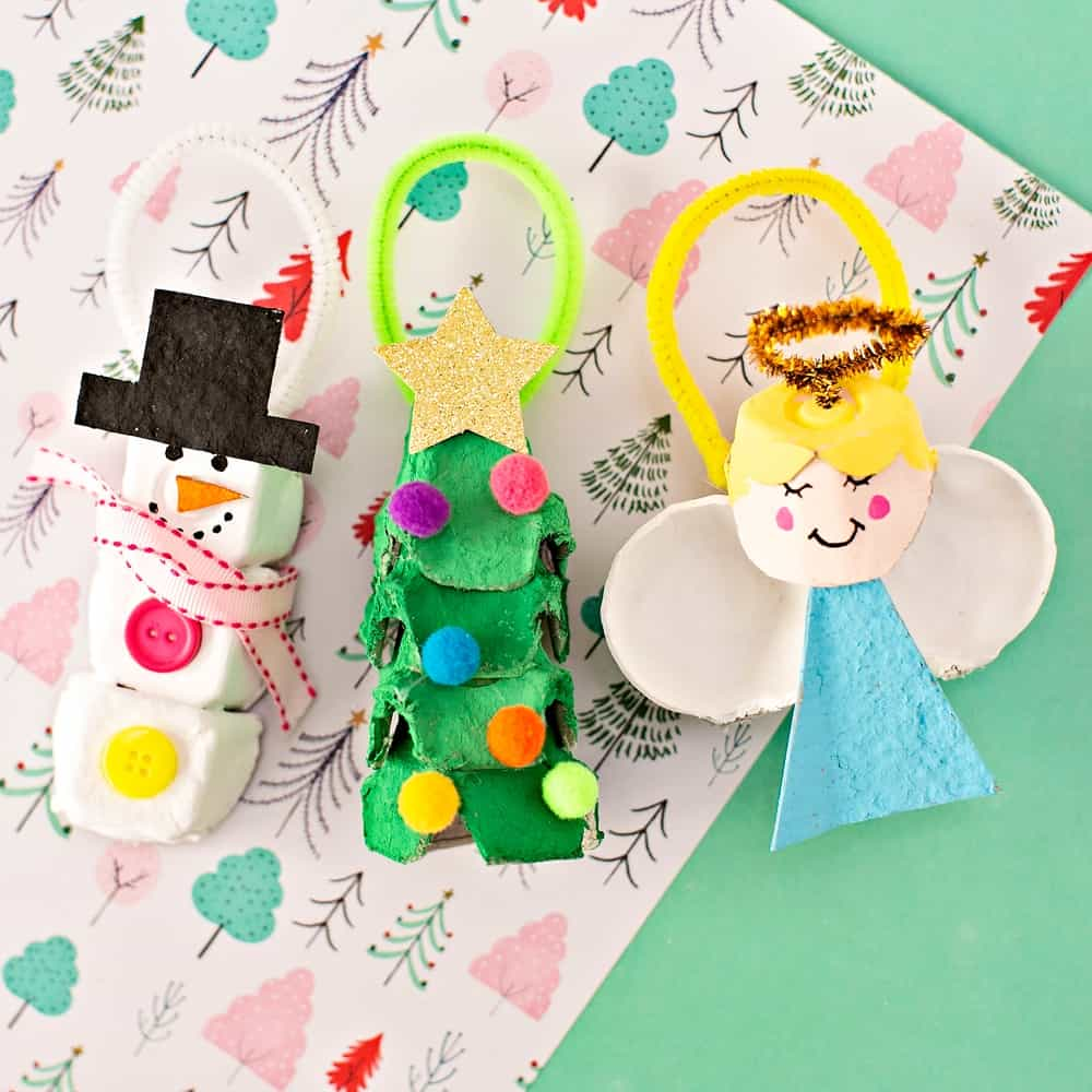 Egg Carton Christmas Ornaments - cute recycled diy craft kids can make