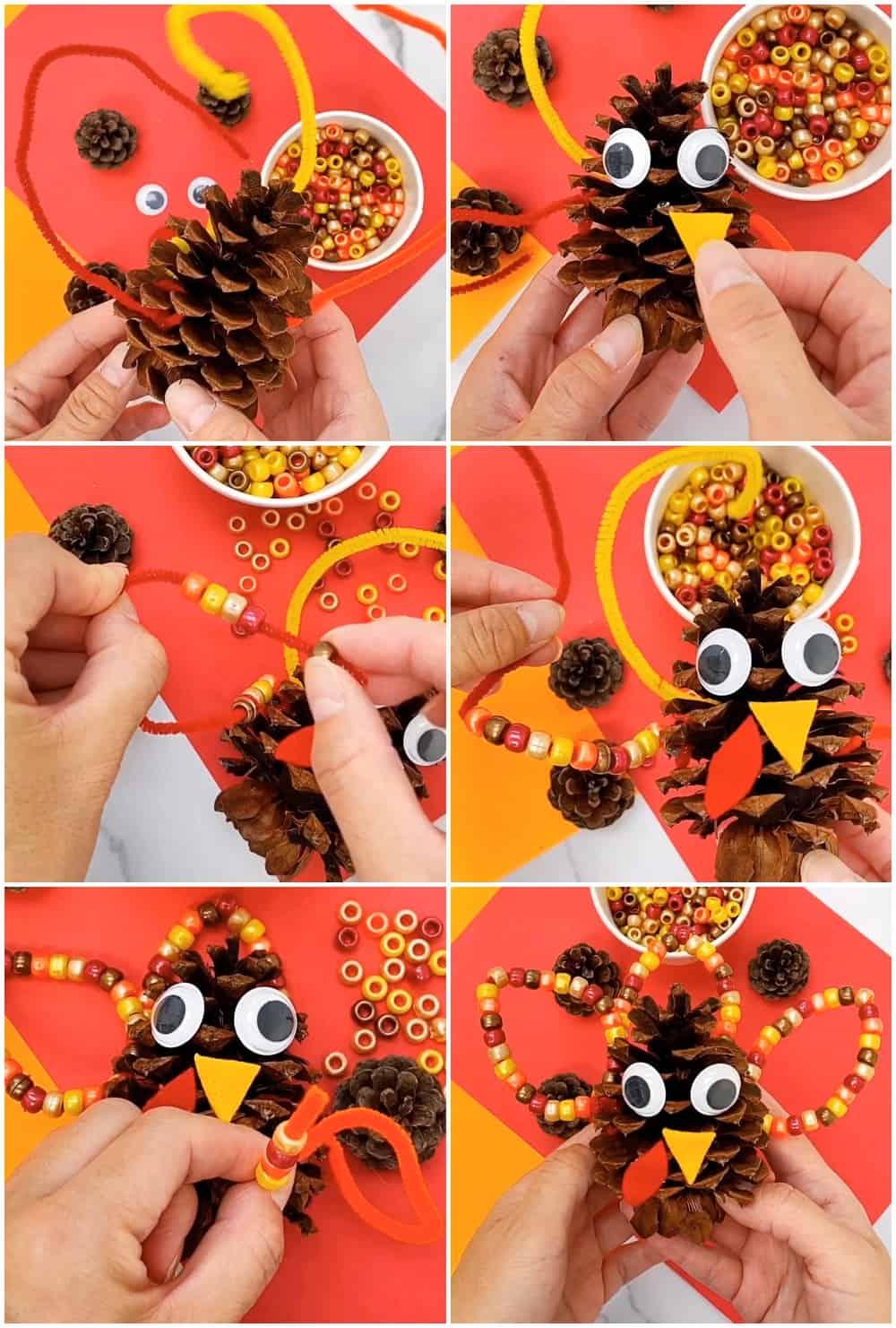 Fine Motor Pine Cone Turkey Craft -Thanksgiving Craft for Kids