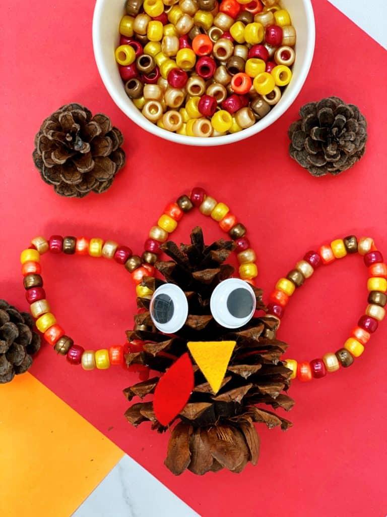 Fine Motor Pine Cone Turkey Craft for kids