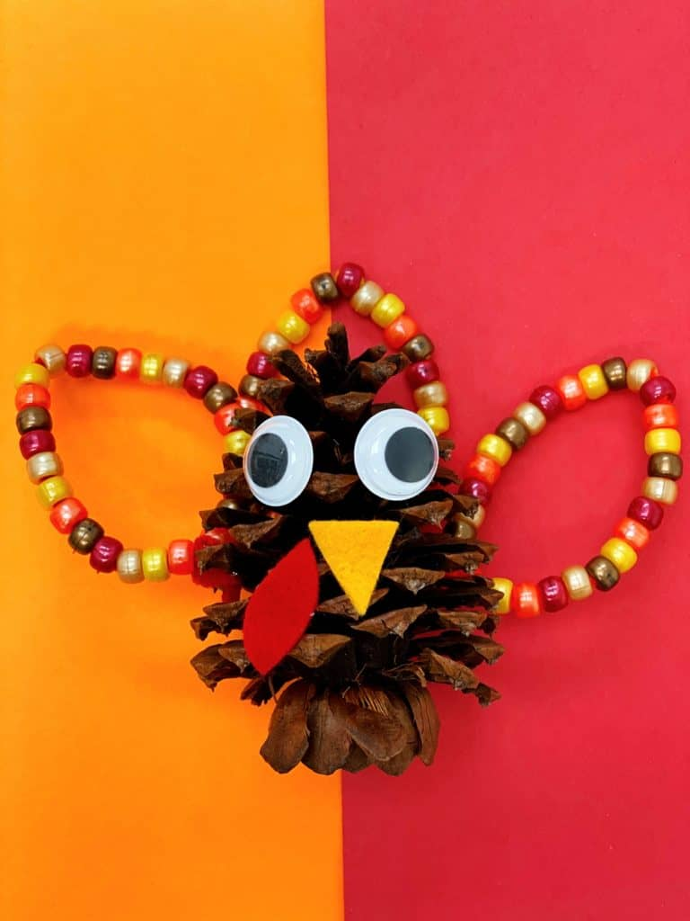 Fine Motor Pine Cone Turkey Craft for kids