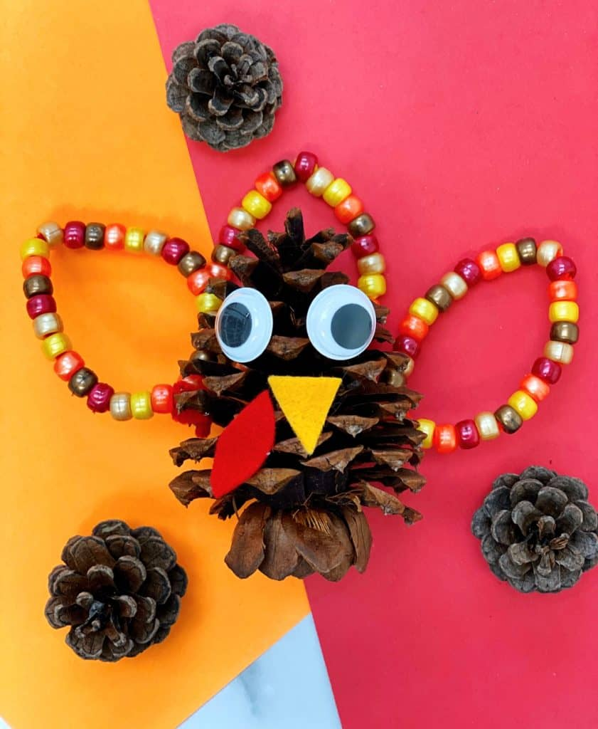 Fine Motor Pine Cone Turkey Craft for preschoolers