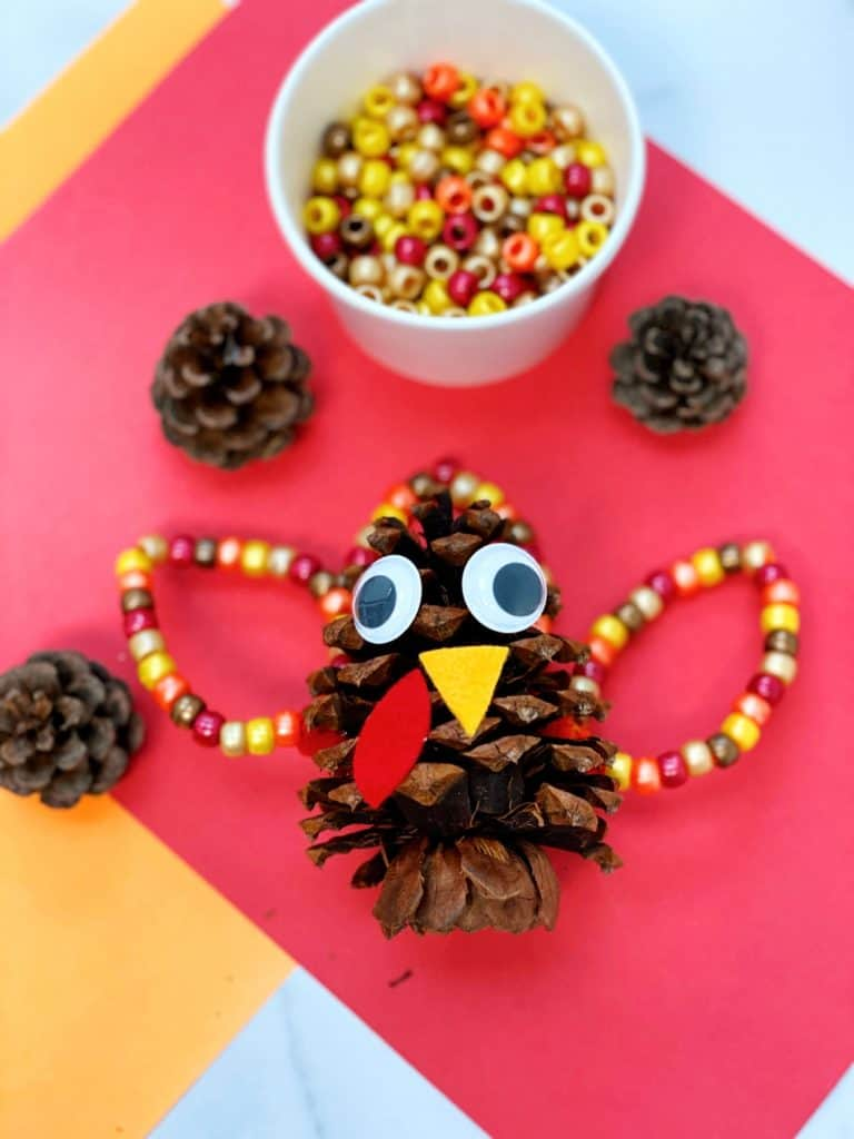 Fine Motor Pine Cone Turkey Craft for preschoolers