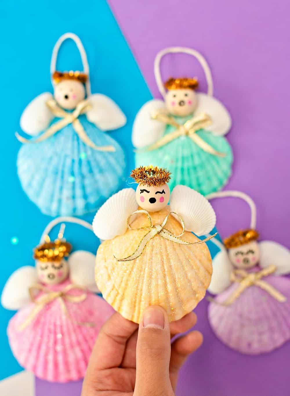 DIY Seashell Angel Christmas Ornaments