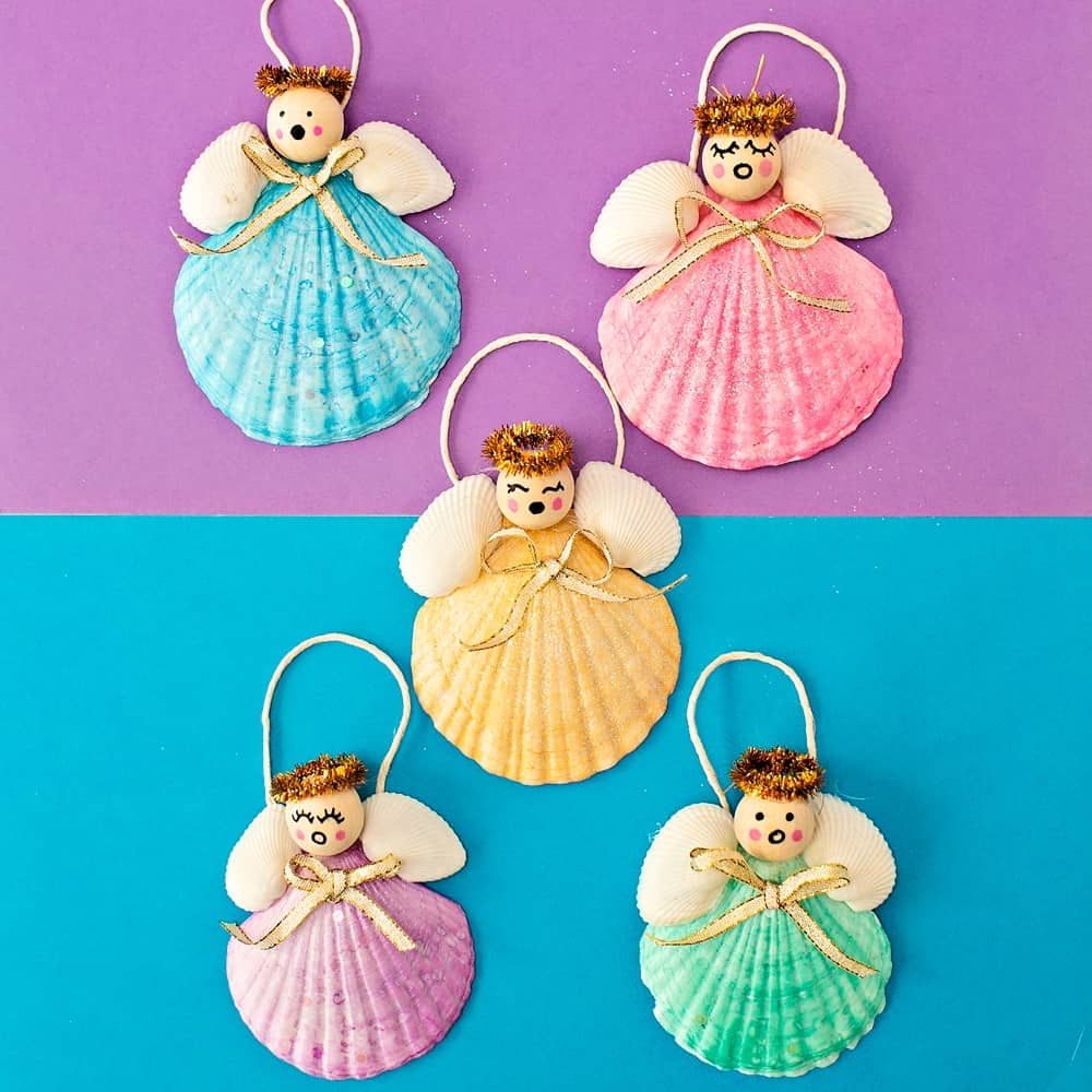 DIY Seashell Angel Christmas Ornaments For Kids
