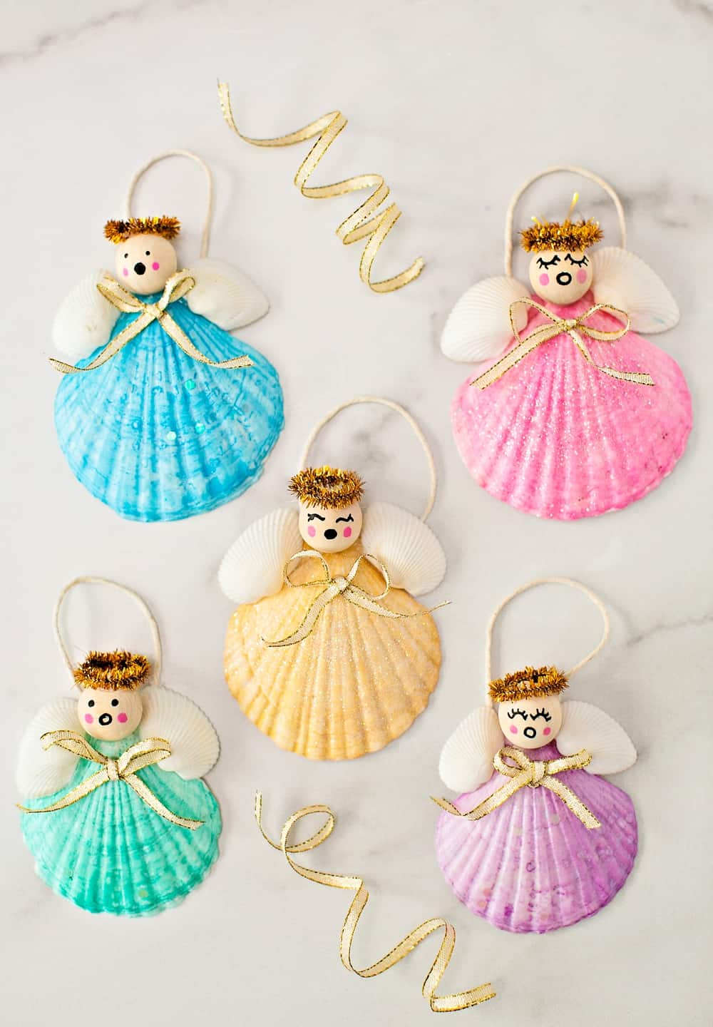 Easy DIY Seashell Angel Christmas Ornaments