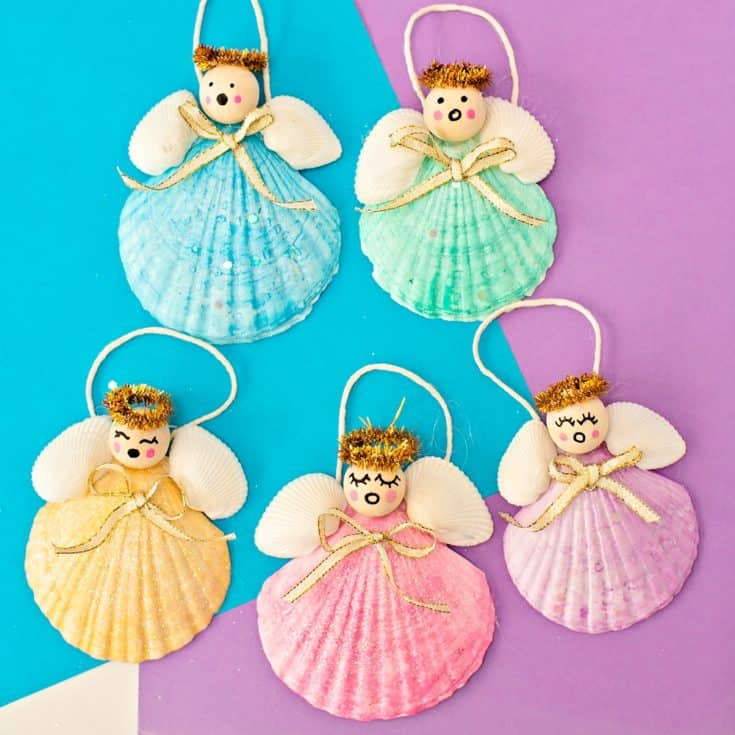 SEASHELL ANGEL CHRISTMAS ORNAMENTS