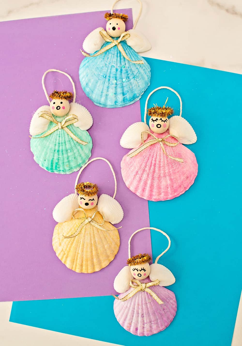 DIY Seashell Angel Christmas Ornaments
