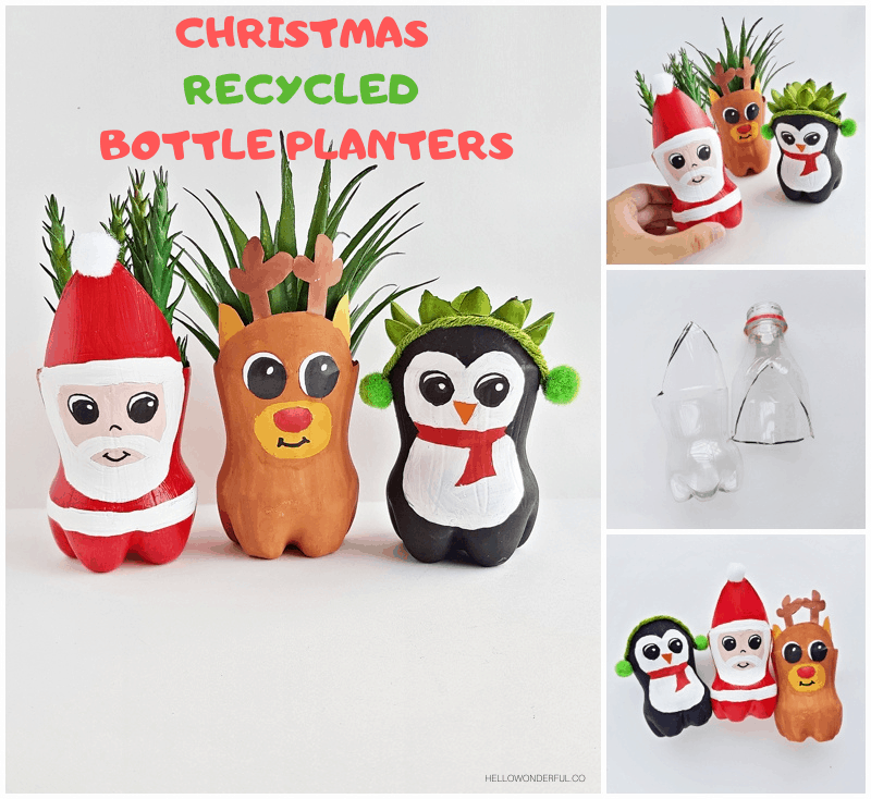 Christmas Recycled Bottle Planters