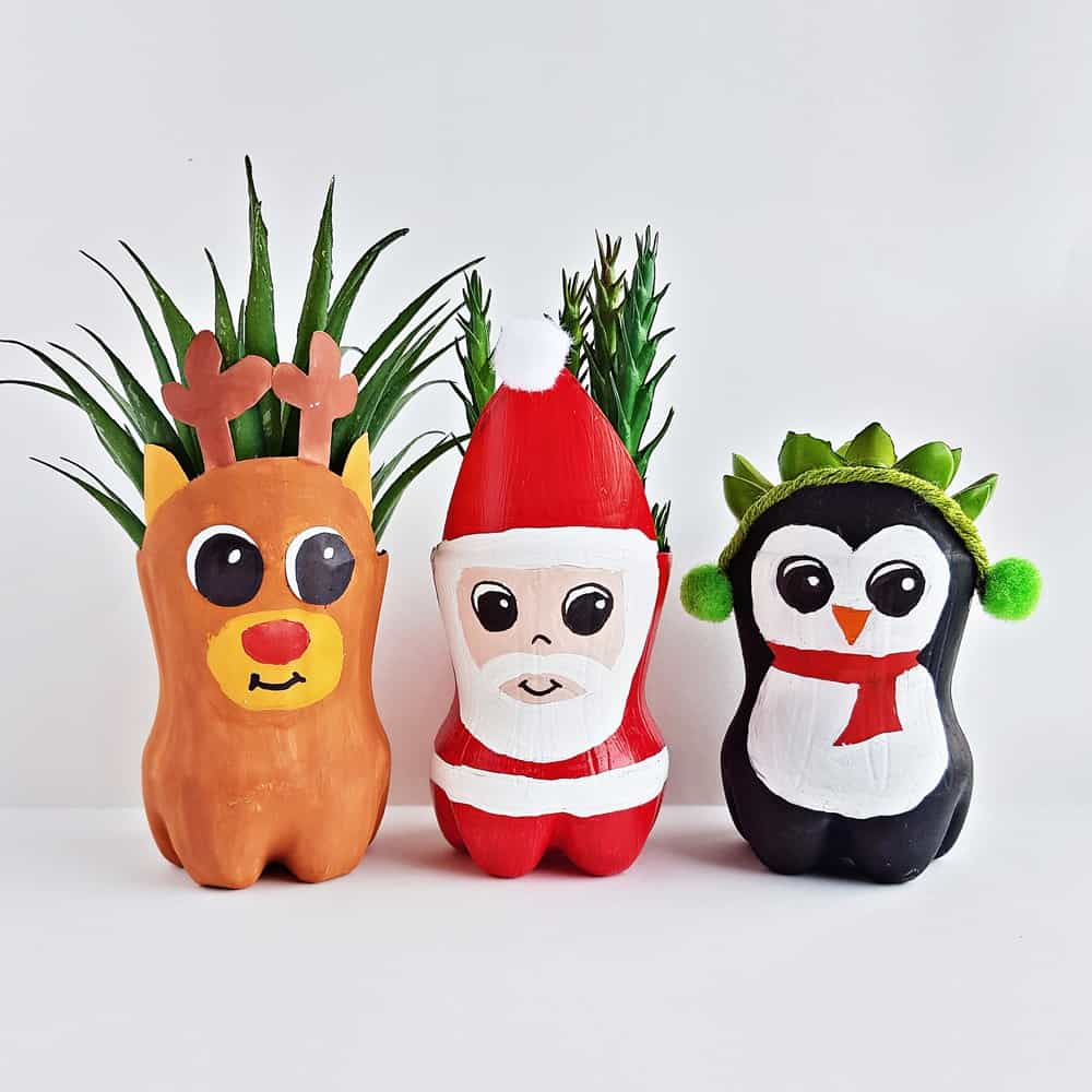 Christmas Recycled Bottle Planters Craft for Kids