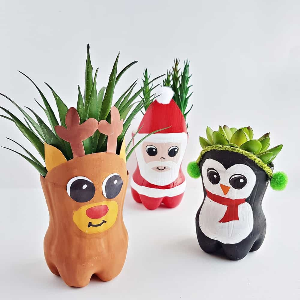 Christmas Recycled Bottle Planters Craft