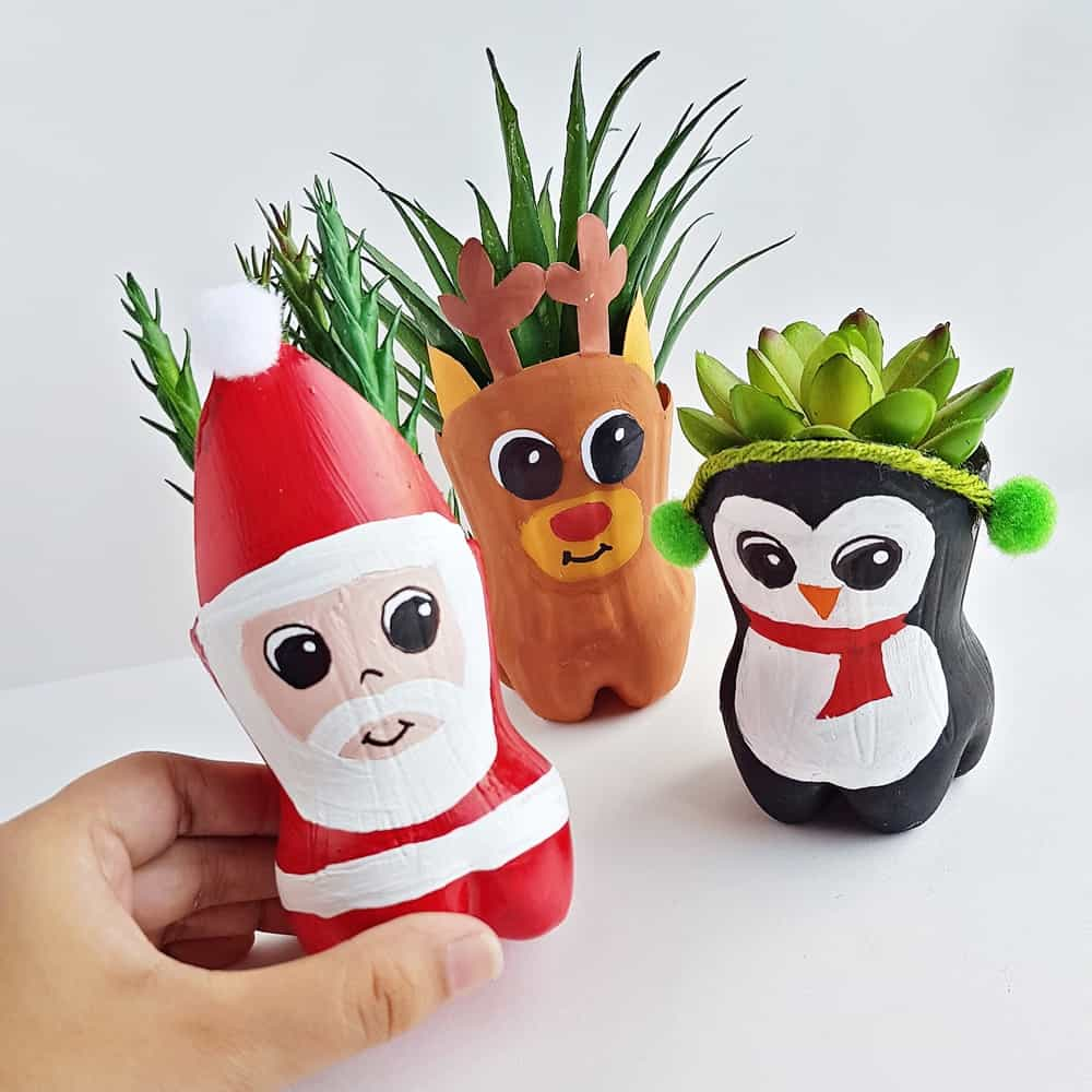 Christmas Recycled Bottle Planters Craft Hello Wonderful