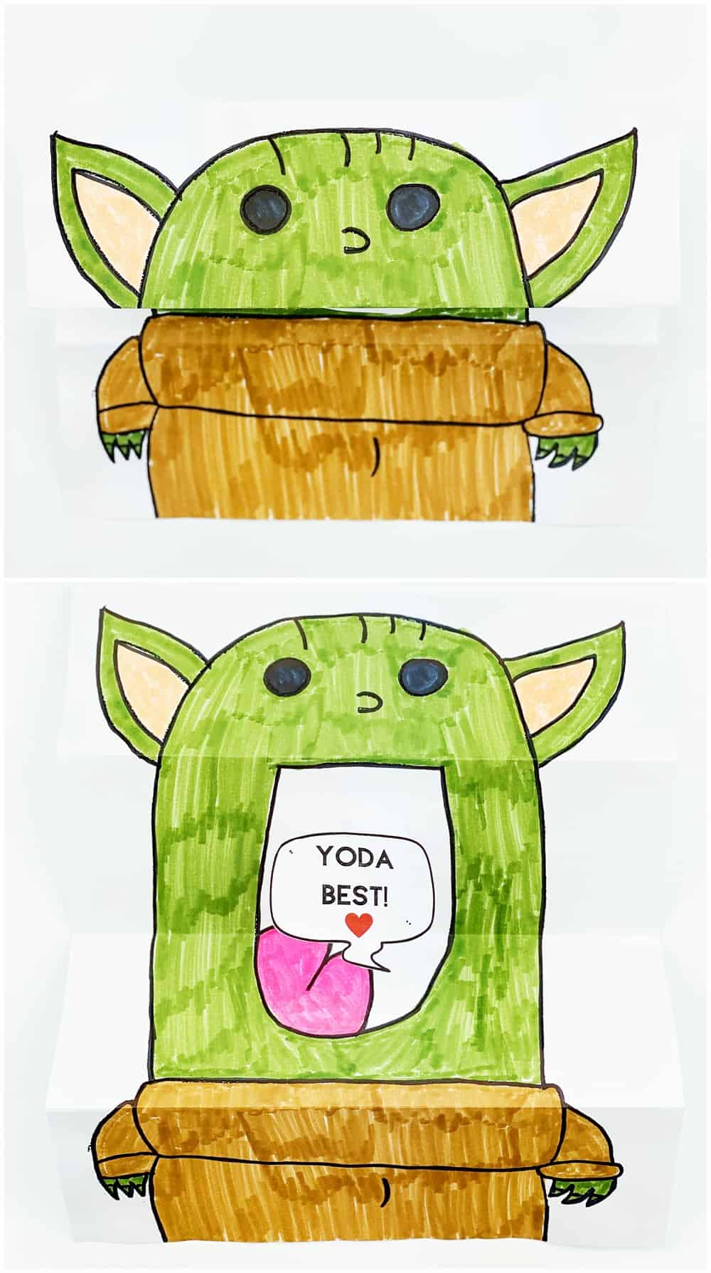 DIY Baby Yoda Card kids can make. Star Wars Valentine card.