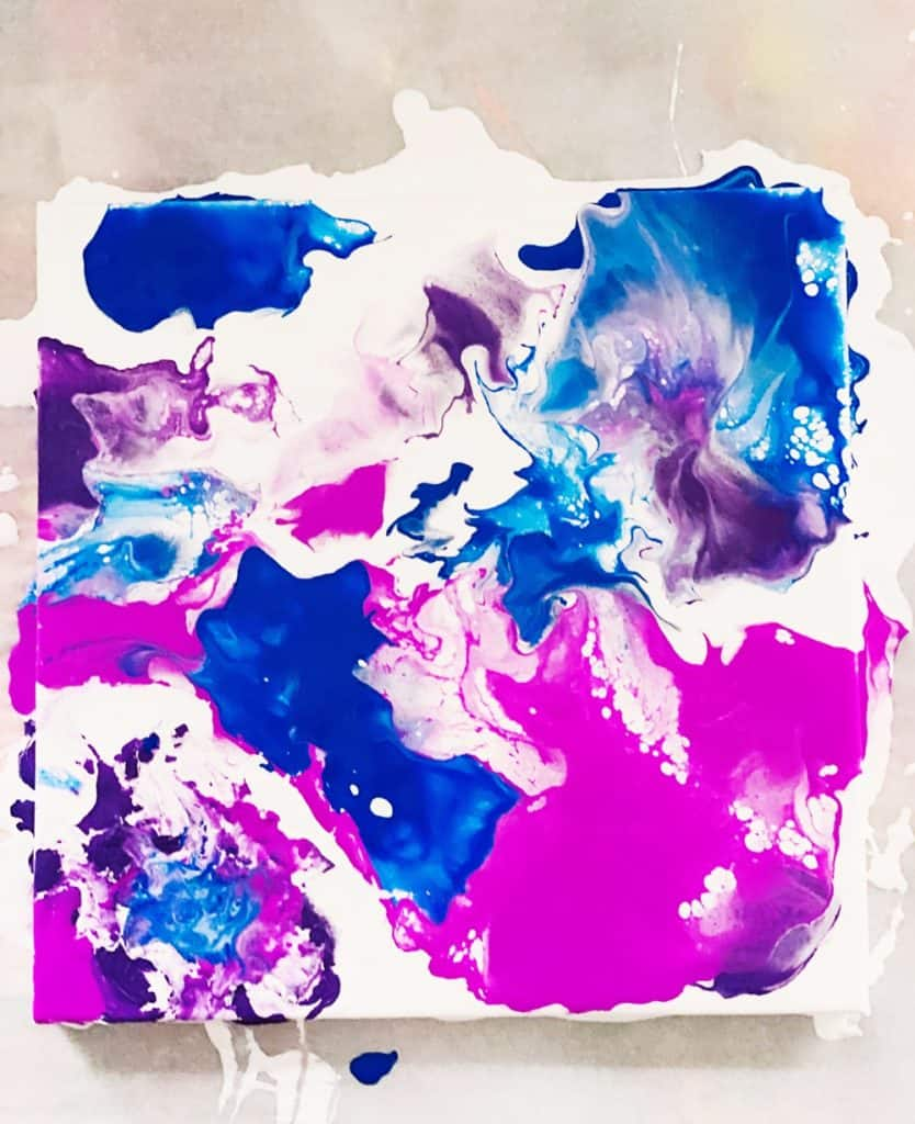Blow Dryer Pour Painting. Easy fluid art painting with kids.