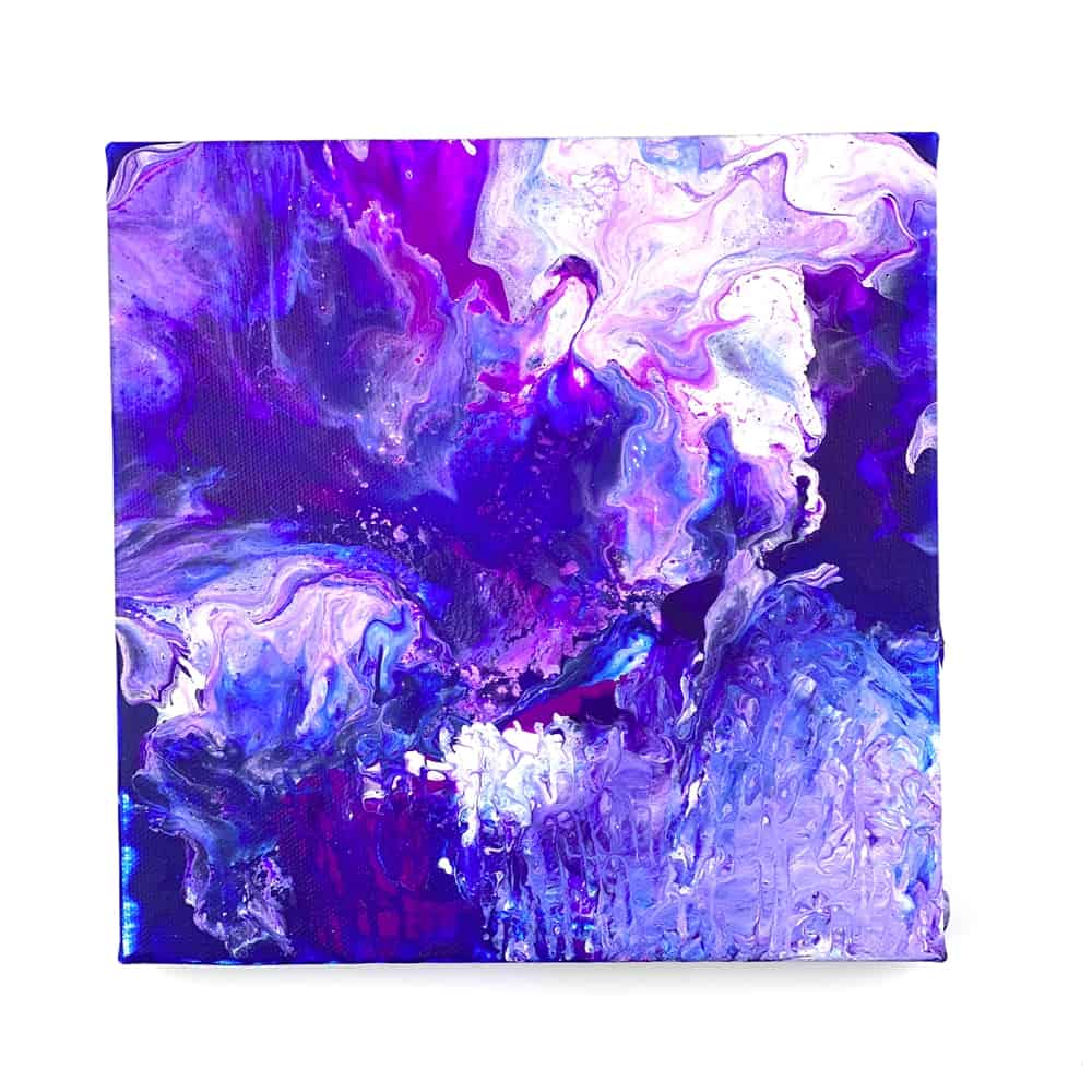 Blow Dryer Pour Painting. Beautiful galaxy themed painting.