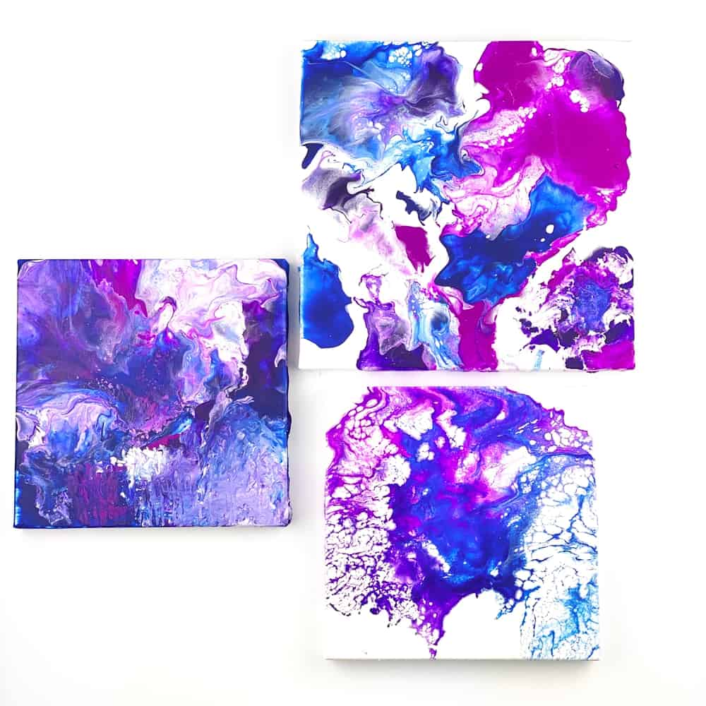 Blow Dryer Pour Painting. Easy flow art painting with kids.