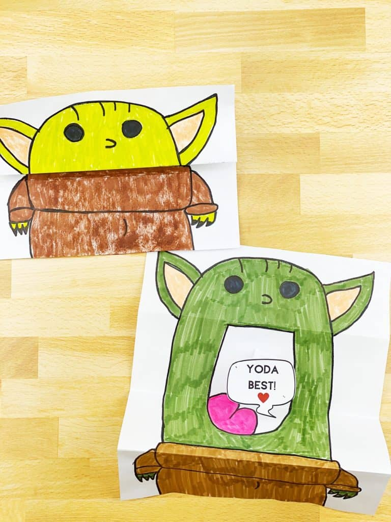 DIY Baby Yoda Paper Card. Valentine Star Wars Card.