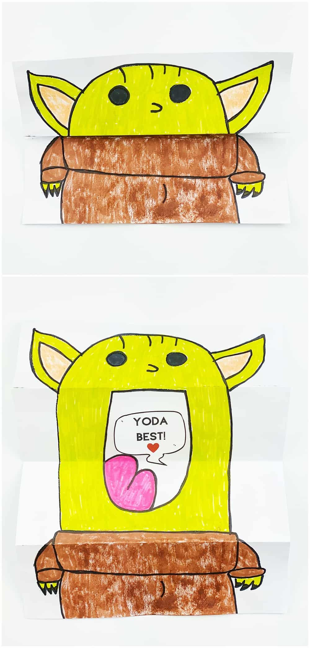 DIY Baby Yoda Paper Card. Valentine Star Wars Card kids can make.