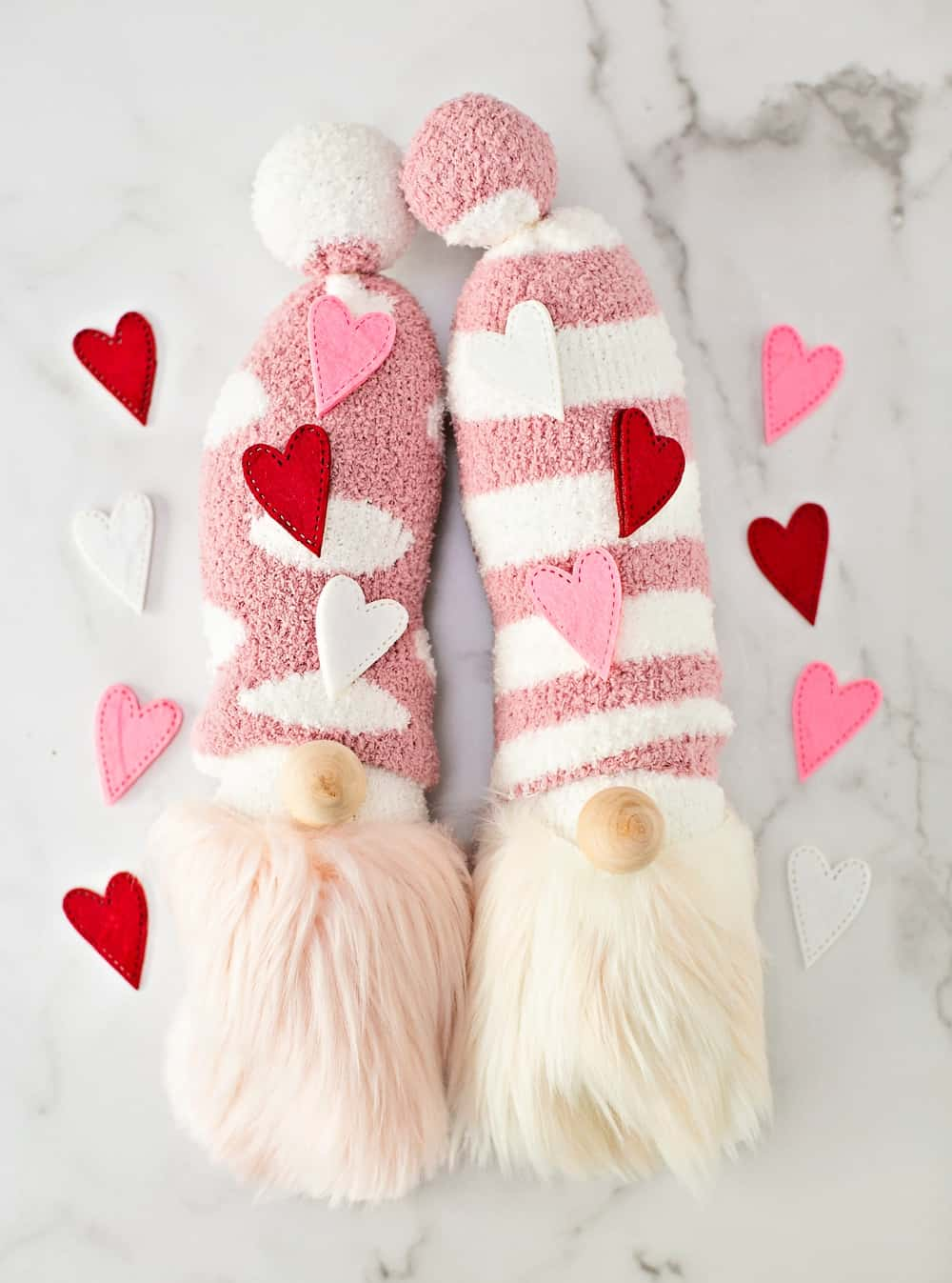 DIY Sock Gnomes. Cute Valentine Craft for Kids.