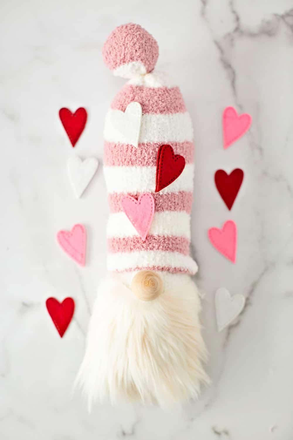 DIY Valentine Gnomes. How to make a sock gnome.
