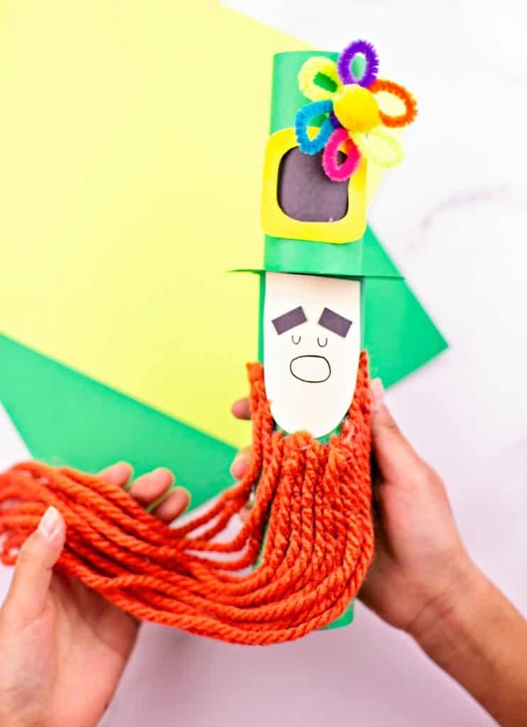 Paper tube Leprechaun craft for kids St Patrick's Day activity