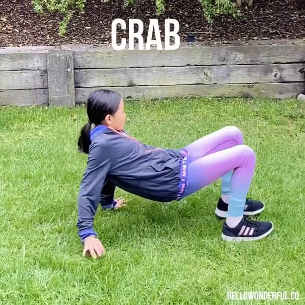 Animal Exercise for Kids. Crab Walk
