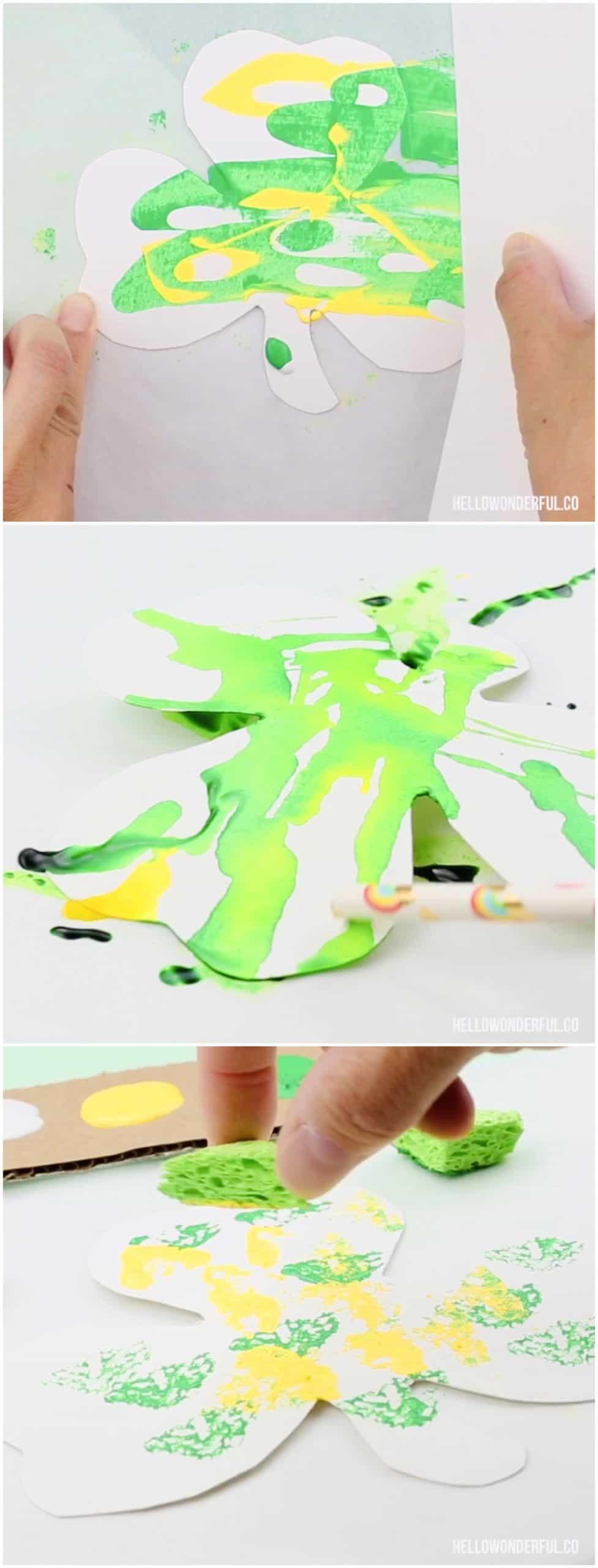 Beautiful Shamrock Art Projects for Kids. Process