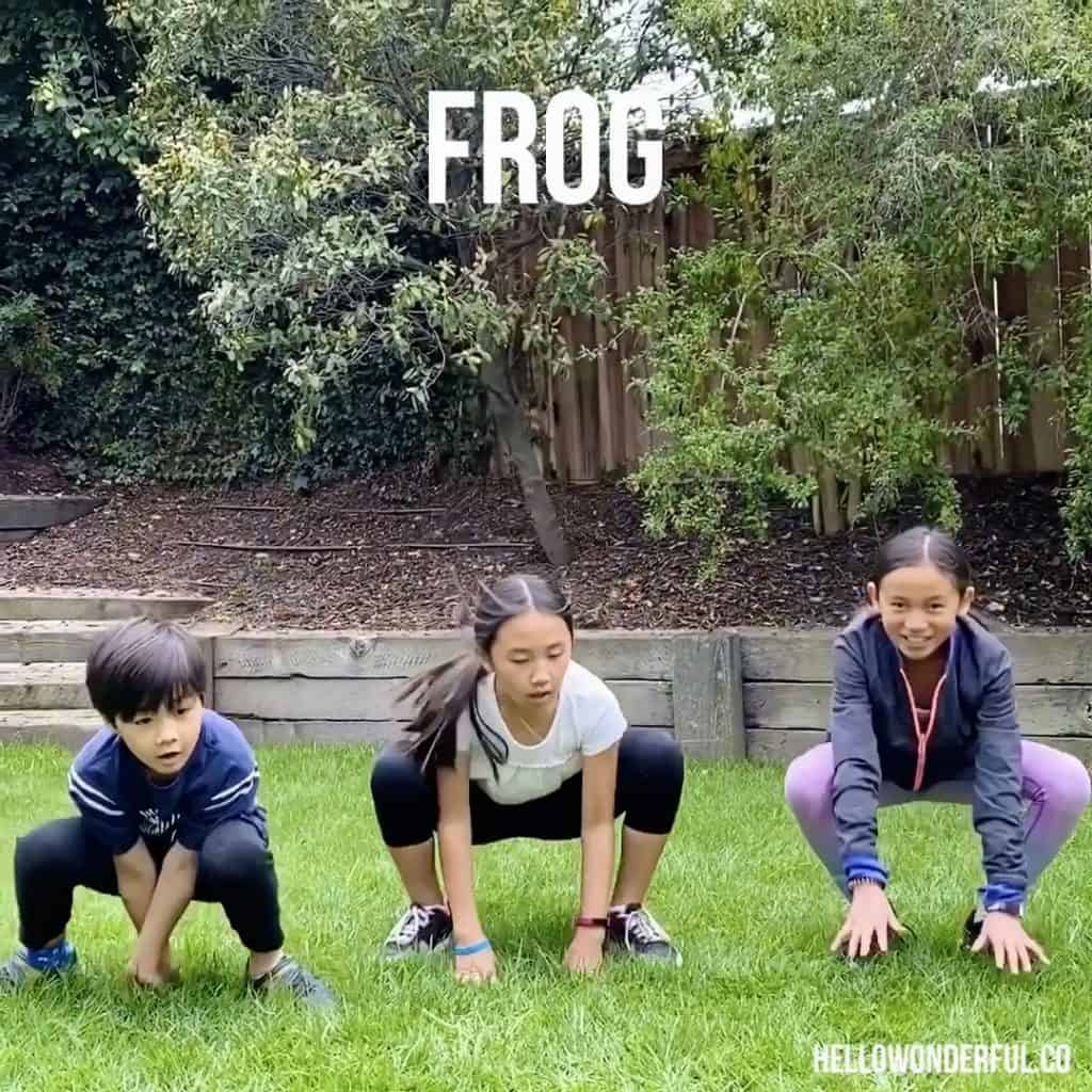 Animal Exercise for Kids. Frog exercise.