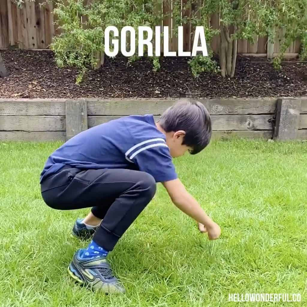 Animal Exercise for Kids. Gorilla Exercise.