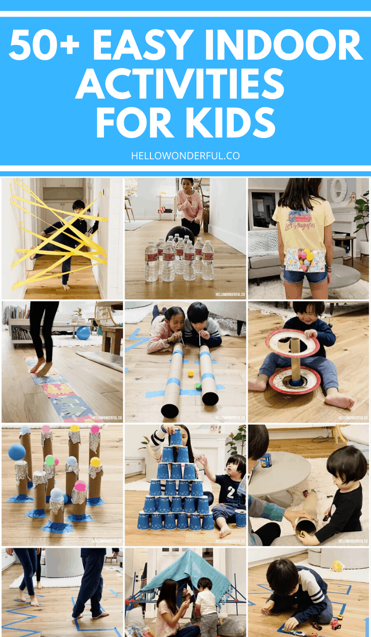 50 Plus Easy Indoor Activities for kids. Cheap, simple activities many using household items or recycled materials.