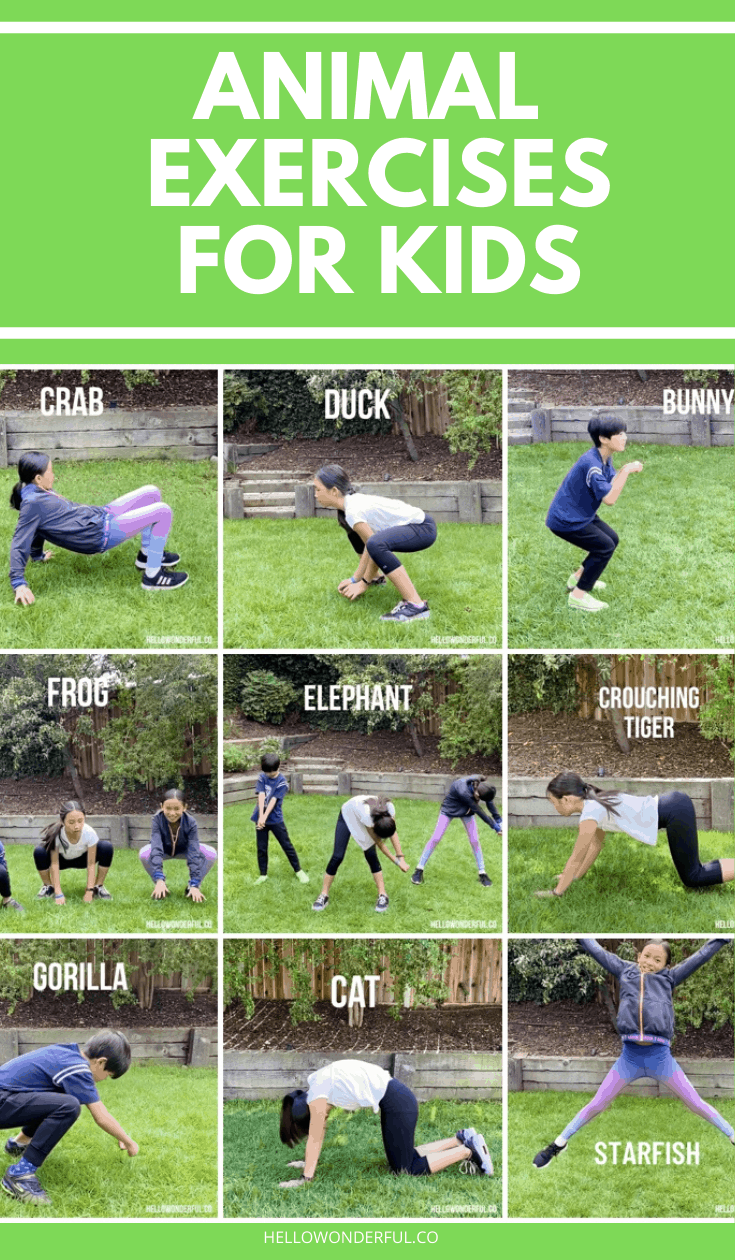 These fun animal exercises for kids are a great way to burn off energy indoors or outdoor! Backyard kids activities and fun way to practice gross motor skills.