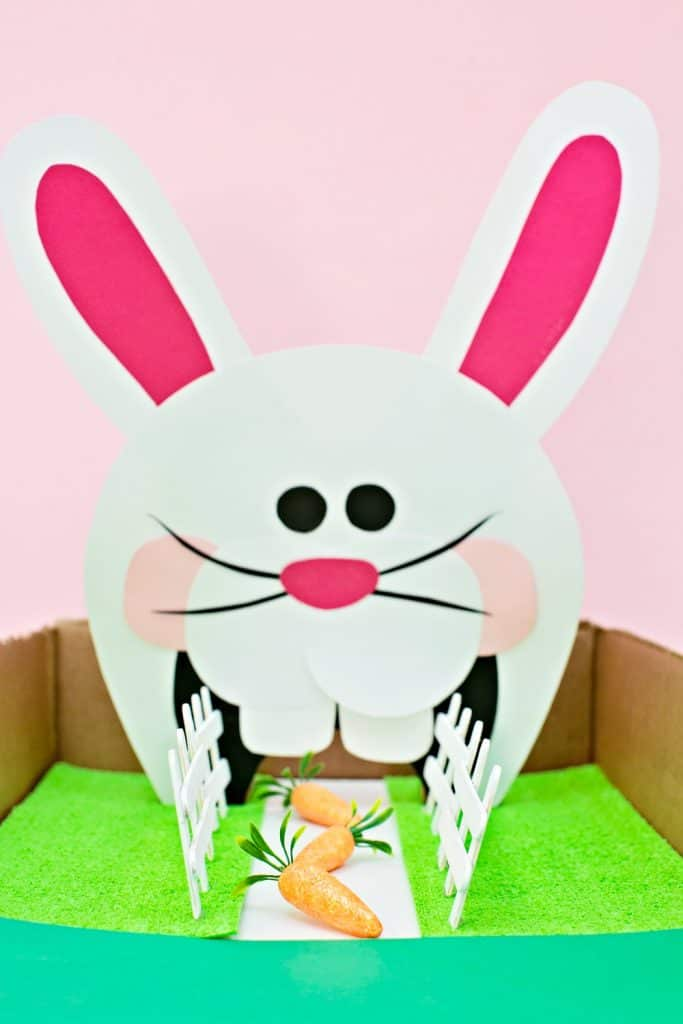 Feed the Bunny Easter Game for Kids with Free Printable. Fun fine motor skills.