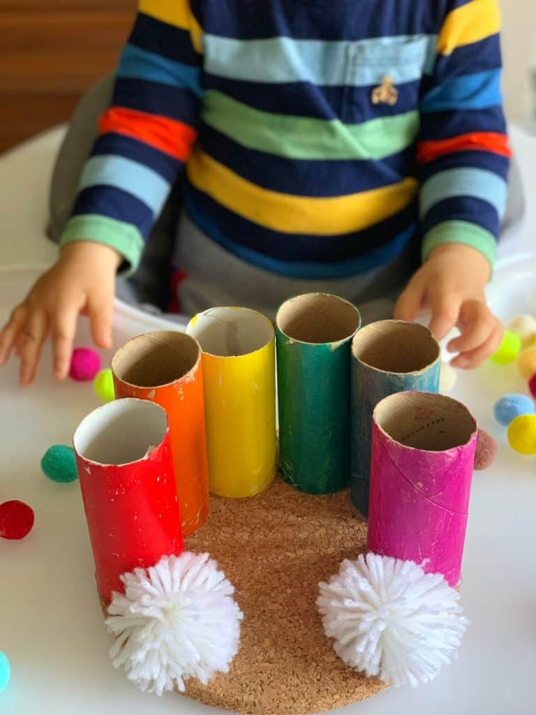 Paper Tube Rainbow Pom Pom Drop Toddler Fine Motor Skills Activity