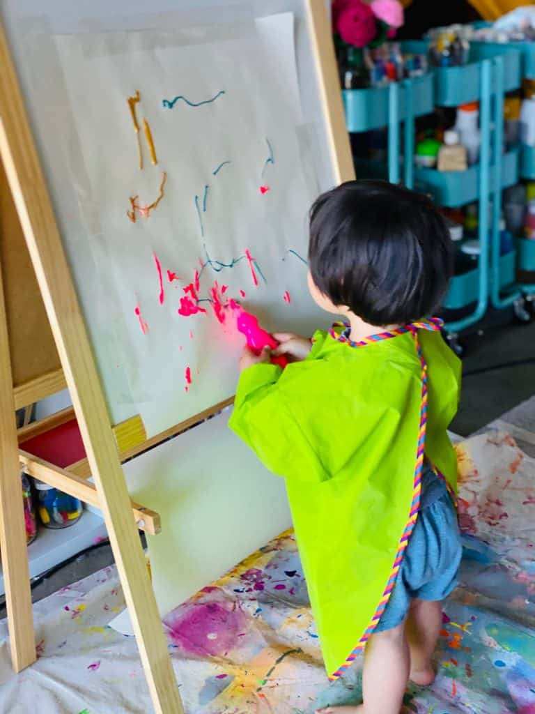 squeegee painting with toddlers - process