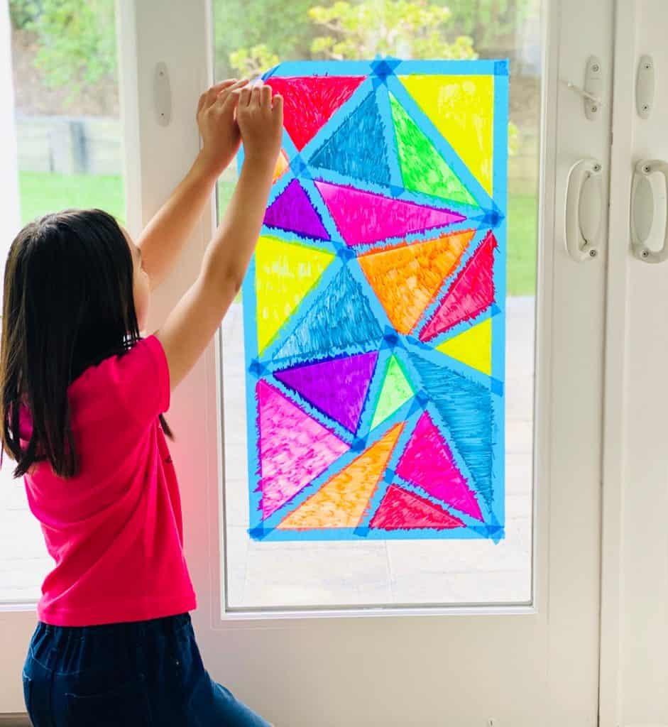 Window Chalk Mosaic Art