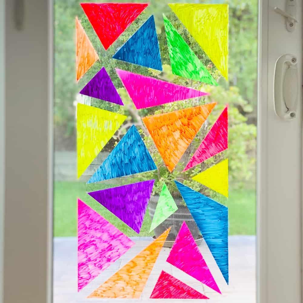 window chalk art mosaic