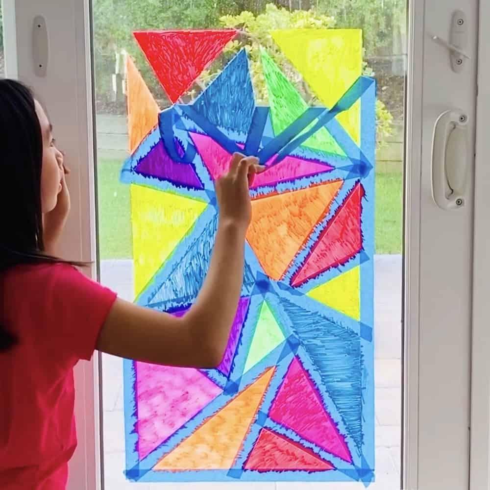 Mosaic Art Tape Resist for window chalk art