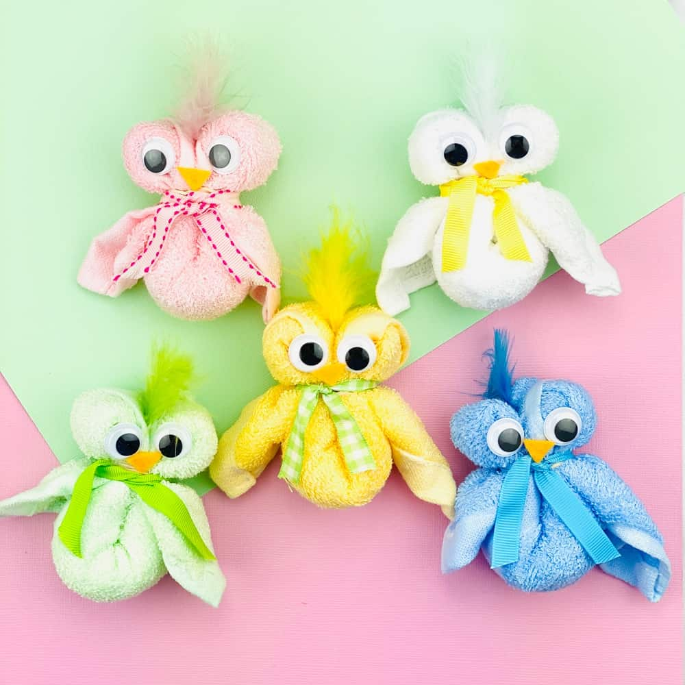 These adorable Easter chicks made of towels are a cute craft kids can make!