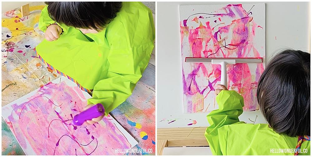 squeegee painting with toddlers
