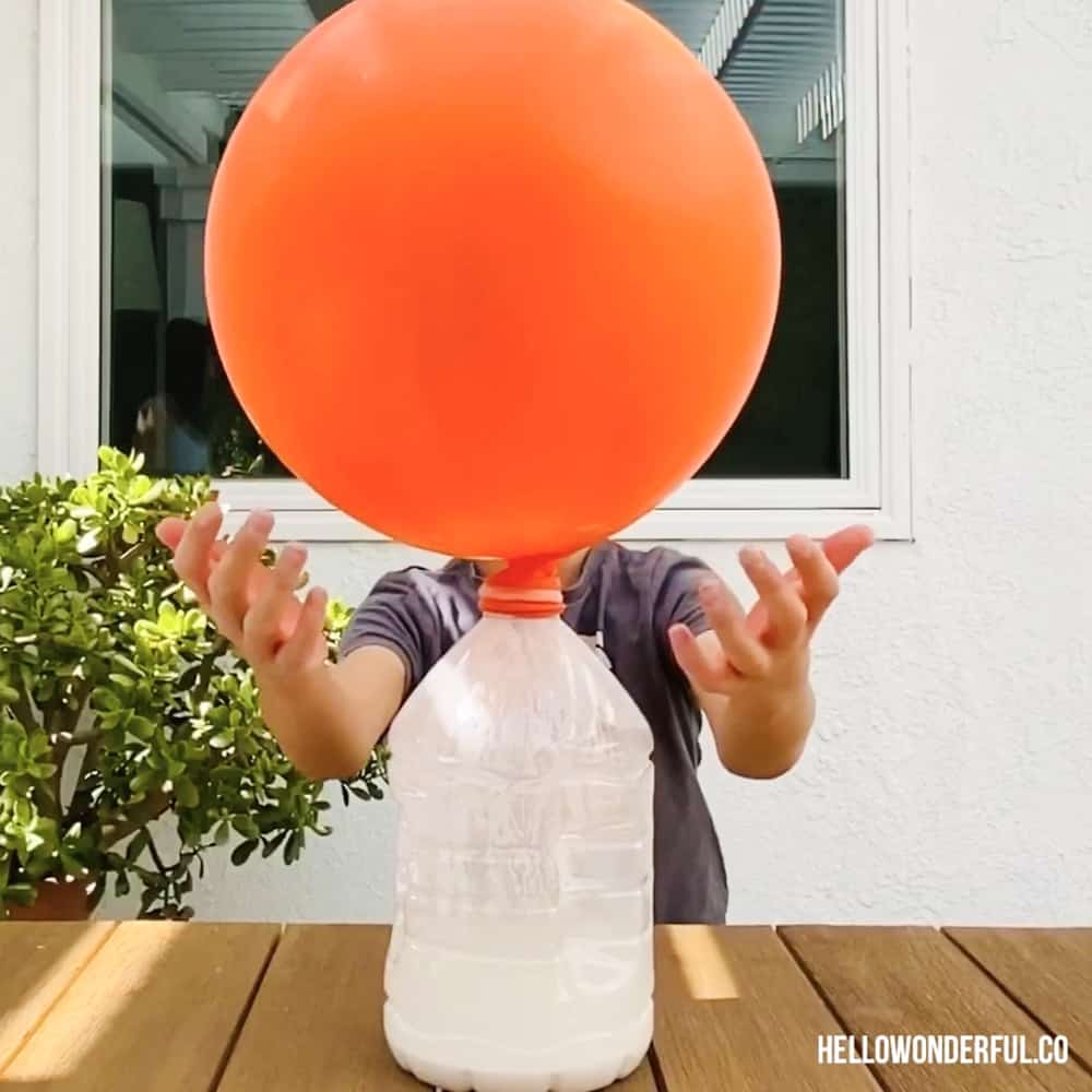 Giant Balloon with baking soda and vinegar science experiment. Ballon inflated over a gallon size water bottle.