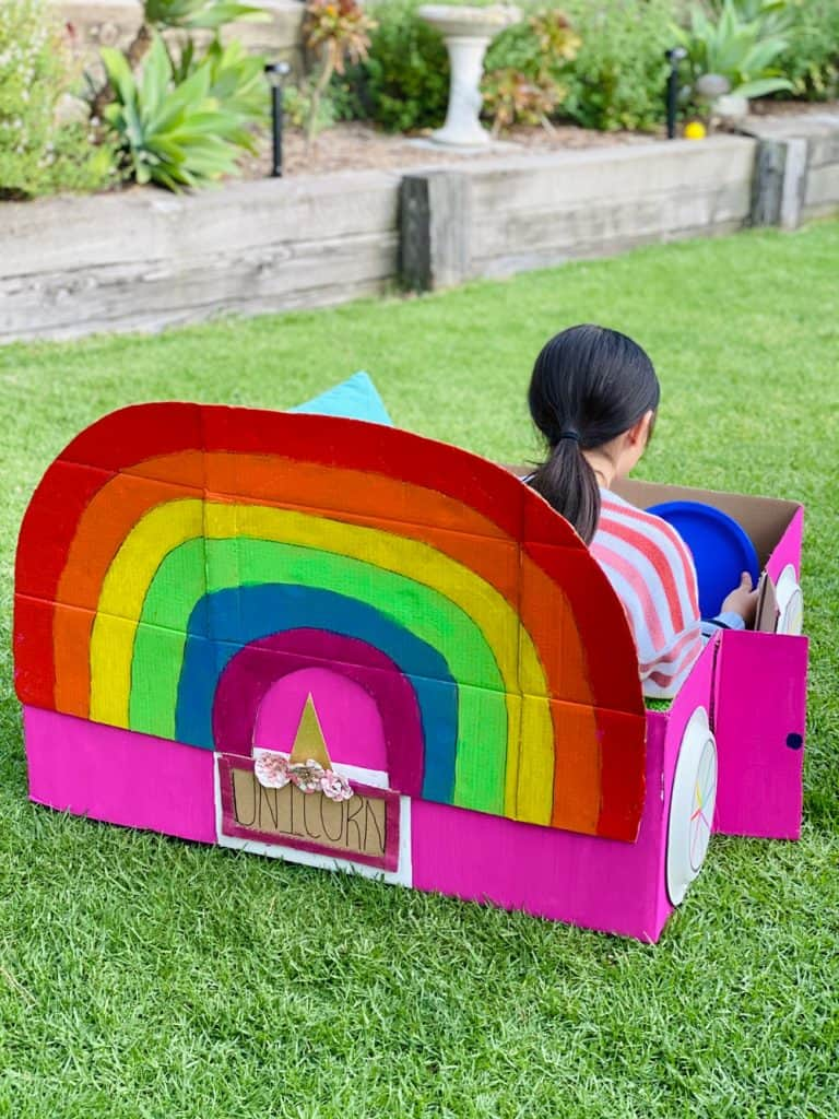 rainbow unicorn cardboard car for outdoor movie night