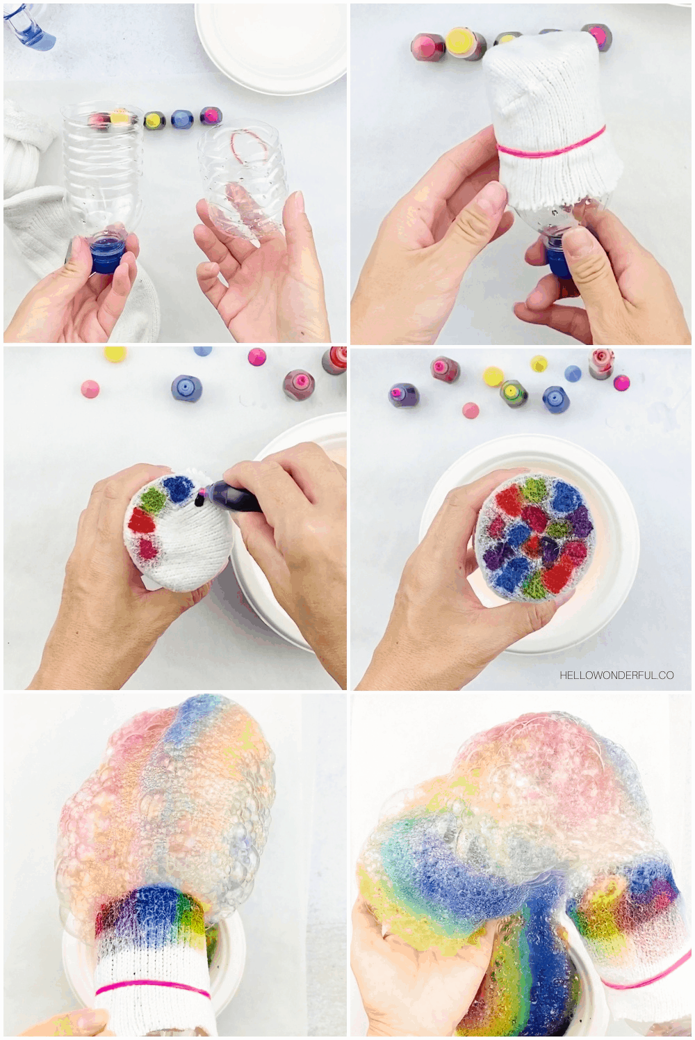 how to make rainbow bubble snakes process