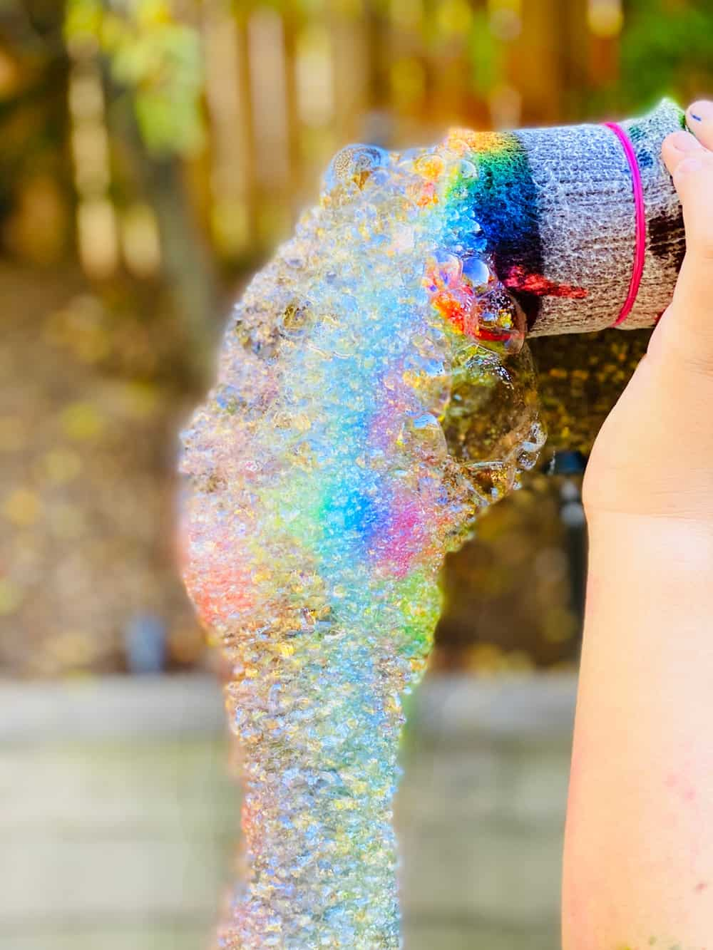 how to make rainbow bubbles with a bottle and sock