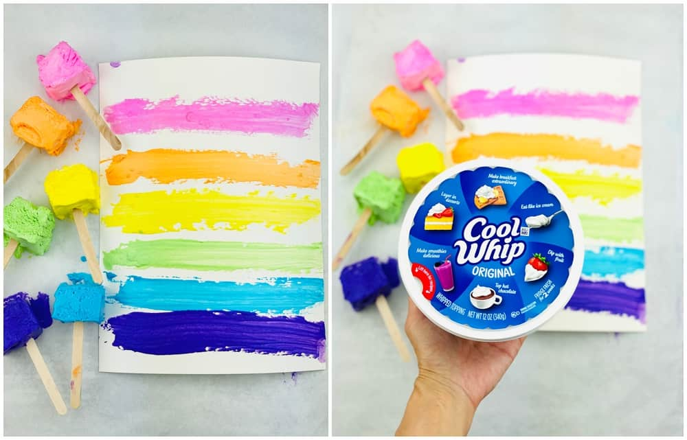 two ingredient taste safe paint made with Cool Whip