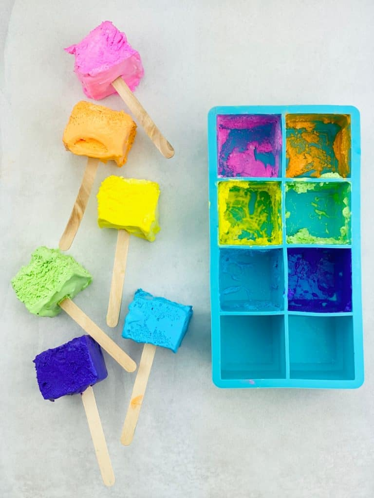 edible paint for toddlers and babies made of Cool Whip and silicone ice cube mold.